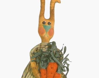 Primitive E Pattern pdf Prim Carrot Bunny  Folk Art Style Rabbit Easter INSTANT DIGITAL DOWNLOAD