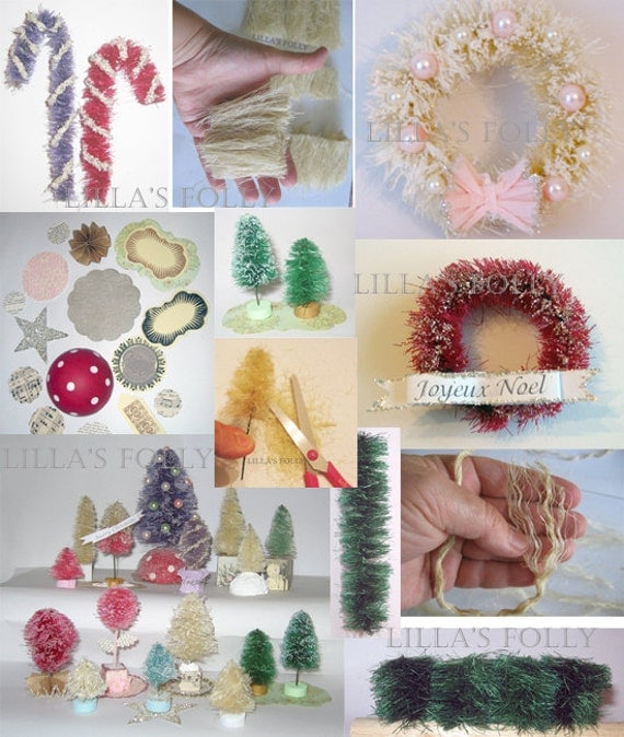 Bottle Brush Tree, candy canes, wreath,  Make from Scratch Tutorial, sisal trees digital pdf Hedges Topiary Make Your Own