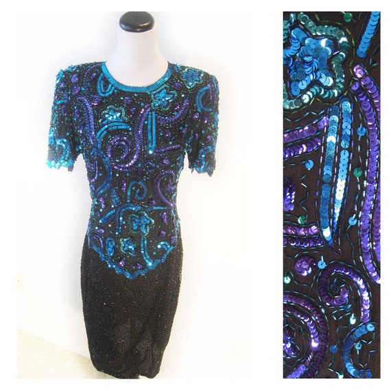 1980s Blue and Purple Sequin Mosaic Shooting Stars Dress S/M