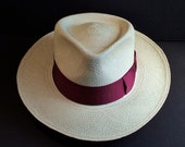 Panama Hat, Straw, Fedora 59.5 cm., 7 3/8 Long Oval