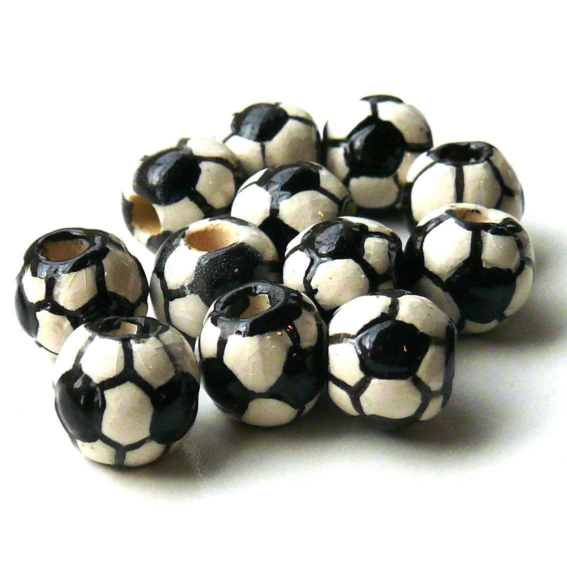 Ceramic Bead Beads: Ceramic Soccer Ball Beads 8mm 12 Beads