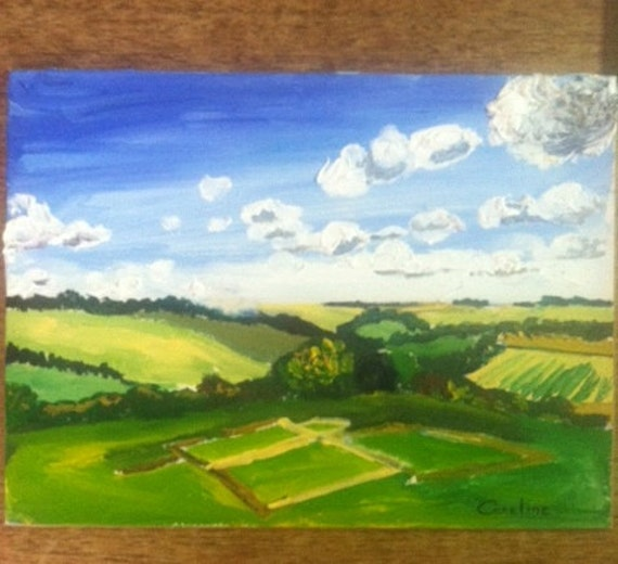 Old Sarum, Ruins and English countryside, oil painting