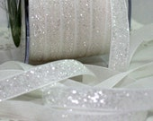 "White Glitter Velvet Ribbon 3/8"" wide by the yard Party Supplies, Crafts, Christmas Ribbon, Gift Wrap, Sewing, Weddings, Trim, Home Decor"