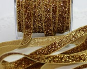 "Gold Glitter Velvet Ribbon 3/8"" wide Ribbon by the yard Christmas Ribbon, Weddings, Craft Supplies, Gift Wrap, Sewing, Scrapbooking, Trim"