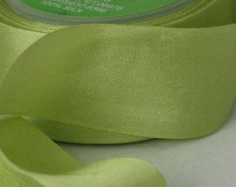 """Light Green Silk Ribbon, 1.25"""" wide, Pantone Tender Shoots, Hand Dyed Silk Ribbon, Weddings, Gift Wrapping, Bouquets, Weddings, Invitations"""