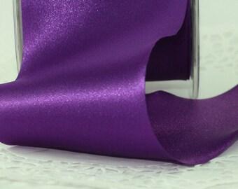 "Purple Satin Ribbon, 3"" wide, Ribbon by yard Single Faced Satin, Weddings, Crafts, Sewing, Costumes, Gift Wrapping, Flower Petal Ribbon"