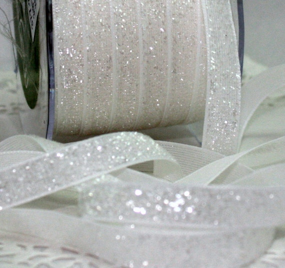 """White Glitter Ribbon, 3/8"""" wide by the yard, White Glitter Trim, White Ribbon, Christmas Ribbon, Gift Wrapping, Sewing, Weddings, Home Decor"""