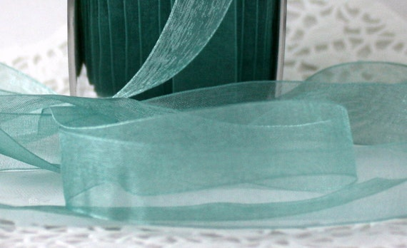 """Sheer Teal Ribbon, 5/8"""" wide, Gift Wrapping, Beach Wedding, Sewing, Crafts, Party Supplies, Weddings, Scrapbooking, Bouquets"""