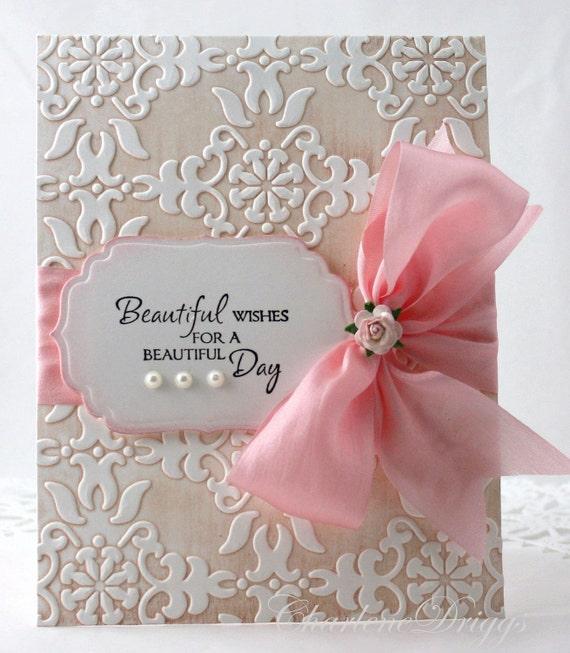 embossed handmade wedding mother's day birthday card