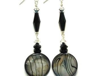 Black Abalone Shell Swarovski Crystal Earrings