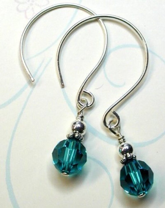 Ocean Blue Crystal Sterling Earrings