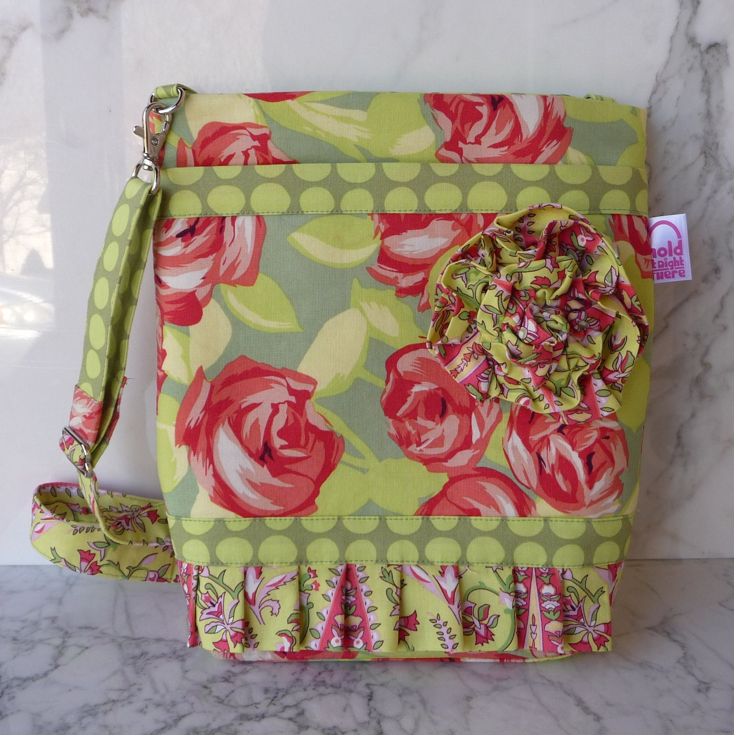 Tangerine and Lime Cross Body Hipster Purse in Amy Butler