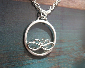 """Silver Moth Necklace Sterling Silver Meditation Circle Pendant Sterling Chain 18"""" Long Butterfly Necklace Simplicity"""