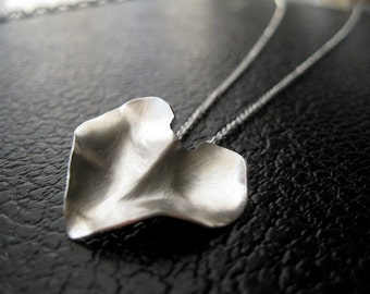"Silver Petal Necklace, Modern Heart Jewelry, Unique Statement Necklace, Simple Wedding Jewelry, 20"" Chain, Minimalist Style, Silvermoth"