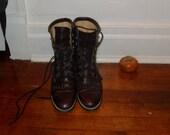 """Vintage Oxblood Keltie Fringe """"Roper"""" lace-up Boots size 8"""