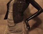 Shredded Deconstructed Grey Tank Dress Cover Up Size Medium
