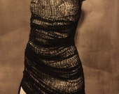 Black Deconstructed Fully Shredded Tank Dress Size Large