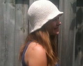 Bucket Hat - Cotton - Sun Hat- Crocheted - Off White - Natural - Teen - Made to Order