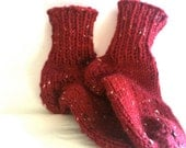 Socks - Handknit Socks - House Socks - Slipper Socks - Dad - Teen  - Red- Tweed - Knit - Made to order