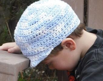 Boys Train Engineer Cap - Cotton Cap - Peaked Cap - Tight fitting - Blue, White - Spring Cap - Sunhat - Ball Cap