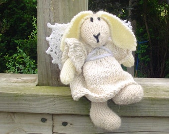 Angel Bunny- Knitted - Angel - Easter - Off White - Soft