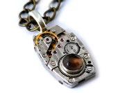 Smoky Quartz Vintage Watch Movement Steampunk Inspired Necklace
