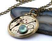 Steampunk Necklace, Antique Pocketwatch Aqua Chalcedony & Gold Filled Case