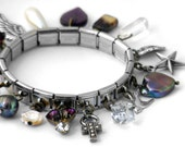 Charm Bracelet, Amethyst & Pearl Vintage Collection - Expansion Bracelet with 18 Drops