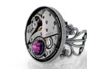Steampunk Ring, Amethyst Crystal & Vintage Watch Mechanism - Adjustable Ring