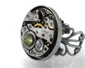Moss Agate Steampunk Ring with Vintage Watch Mechanism - Adjustable Filigree Ring