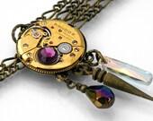 Steampunk Necklace, Bold Gold Vintage Watch Mechanism, Dark Aurora - Long Chain Necklace