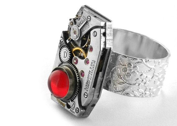 Steampunk Ring, Vermillion Red Glass & Vintage Watch Mechanism - Adjustable Steampunk Ring