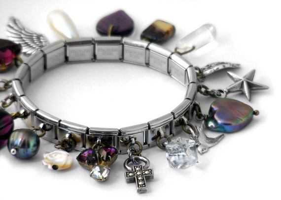 Charm Bracelet, Amethyst & Pearl Vintage Collection - Expansion Bracelet with 18 Drops