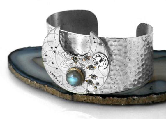 Steampunk Cuff, Antique Pocket Watch Plate, Labradorite & Hammered Silver Cuff