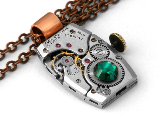 Steampunk Necklace, Elgin Vintage Watch with Emerald Crystal & Copper - Long Chain Necklace