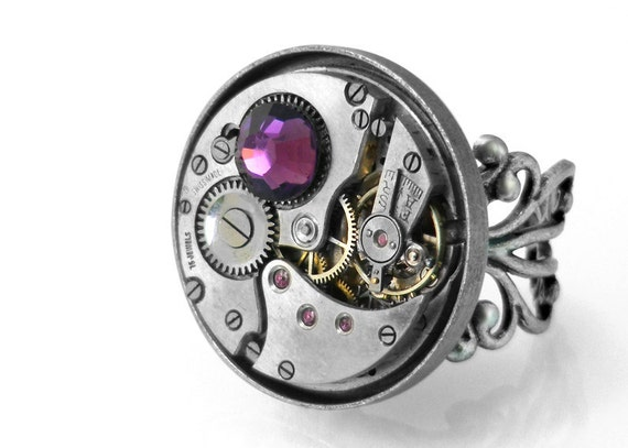 Steampunk Ring, Amethyst Crystal & Vintage Watch Mechanism