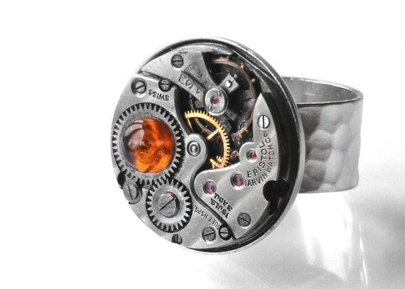 Steampunk Ring, Baltic Amber & Pinstripes Vintage Watch Movement - Adjustable Ring