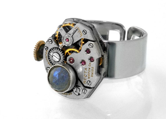 Steampunk Ring, Labradorite and Vintage Watch Movement - Adjustable Steampunk Ring