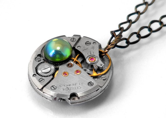 Steampunk Necklace - Blue & Green Bauble, Vintage Watch Movement Long Chain Necklace