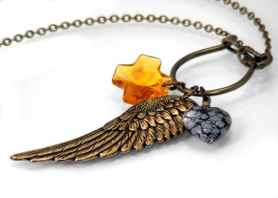 RESERVED for RLP Steampunk Necklace, Charm Holder, Angel Wing of Gold / Memory Keeper Clip / Keepsake Necklace - Long Chain Necklace