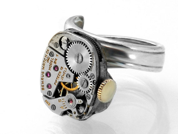 Steampunk Ring, Vintage Benrus Watch Mechanism, Elaborate & Elegant Spoon Ring Band - ring size 7.5