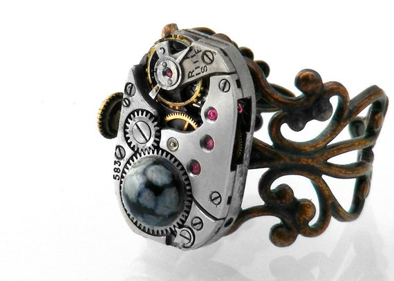 Steampunk Ring, Snowflake Obsidian Vintage Watch Mechanism, Adjustable Copper Filigree Ring