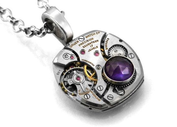 Steampunk Necklace, Amethyst & Vintage Gruen Watch Movement - Long Chain Necklace