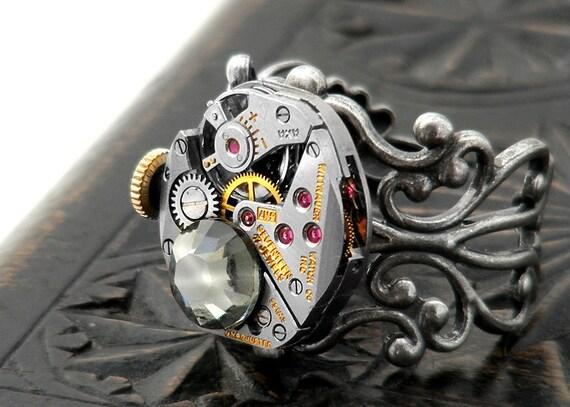 Steampunk Ring, Black Diamond Crystal & Vintage Wittnauer Watch Mechanism - Adjustable ring