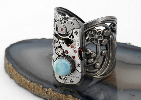 Steampunk Ring - Larimar Gemstone & Vintage Watch Mechanism on Filigree - Adjustable Ring