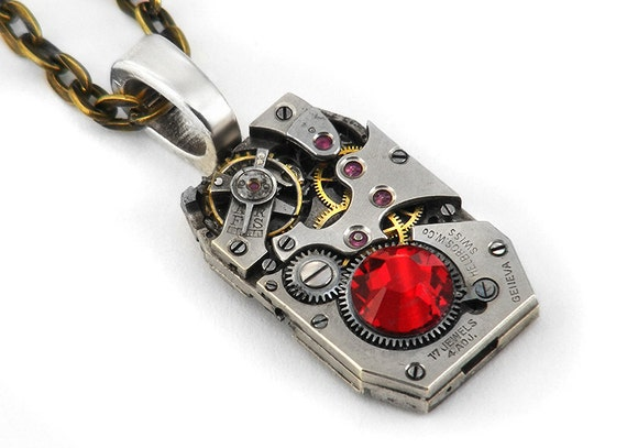 Steampunk Necklace, Siam Red Crystal & Vintage Watch Movement - Long Chain Necklace