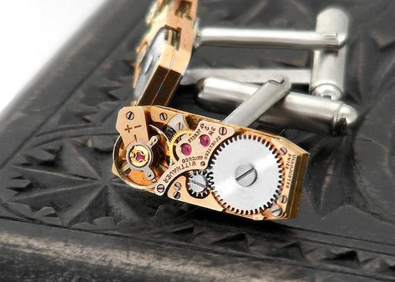 Red Brass Steampunk Cuff Links with Vintage Watch Movements - Wedding Cuff Links