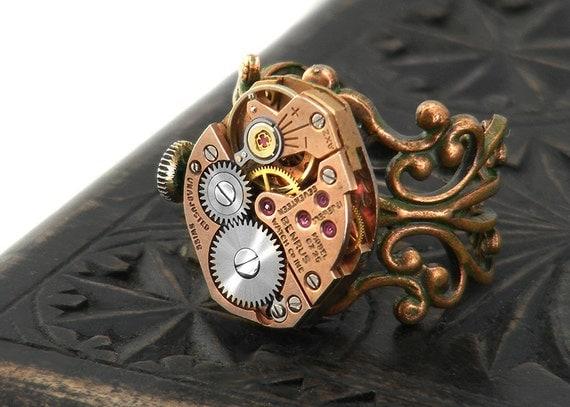 Steampunk Ring, Red Brass Vintage Benrus Watch Mechanism, Adjustable Copper Filigree Ring