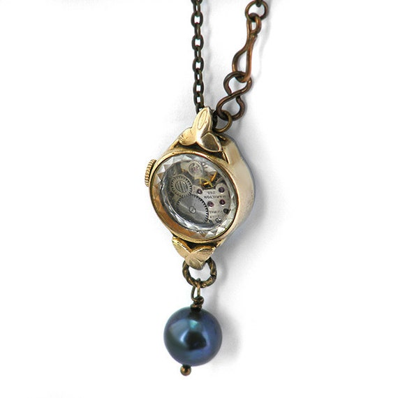 Steampunk Necklace, Black Pearl & Vintage Gold Watch - Long Chain Necklace