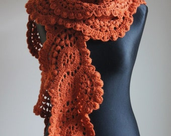 Crocheted long lace scarf in pumpkins color
